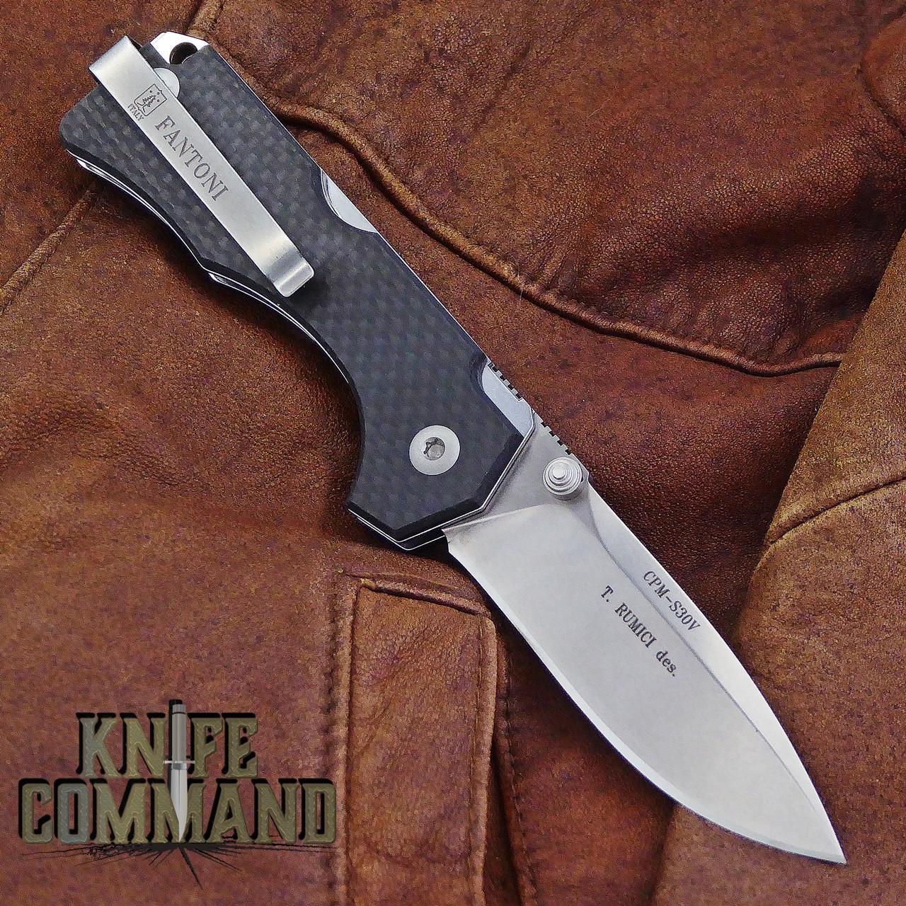 Fantoni Hide Carbon Fiber Lockback Folding Knife by Tommaso Rumici.