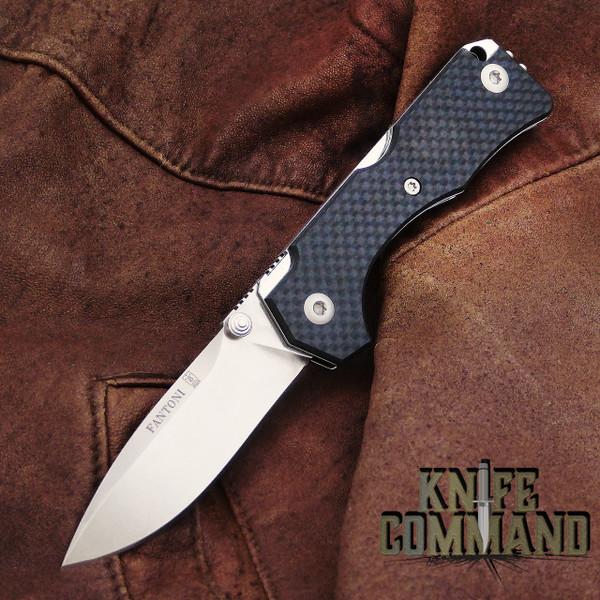 Fantoni Hide Carbon Fiber Lockback Folding Knife by Tommaso Rumici.  Fine Italian craftsmanship.