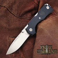 Fantoni Hide Carbon Fiber Lockback Folding Knife by Tommaso Rumici.  Fine Italian craftsmanship.