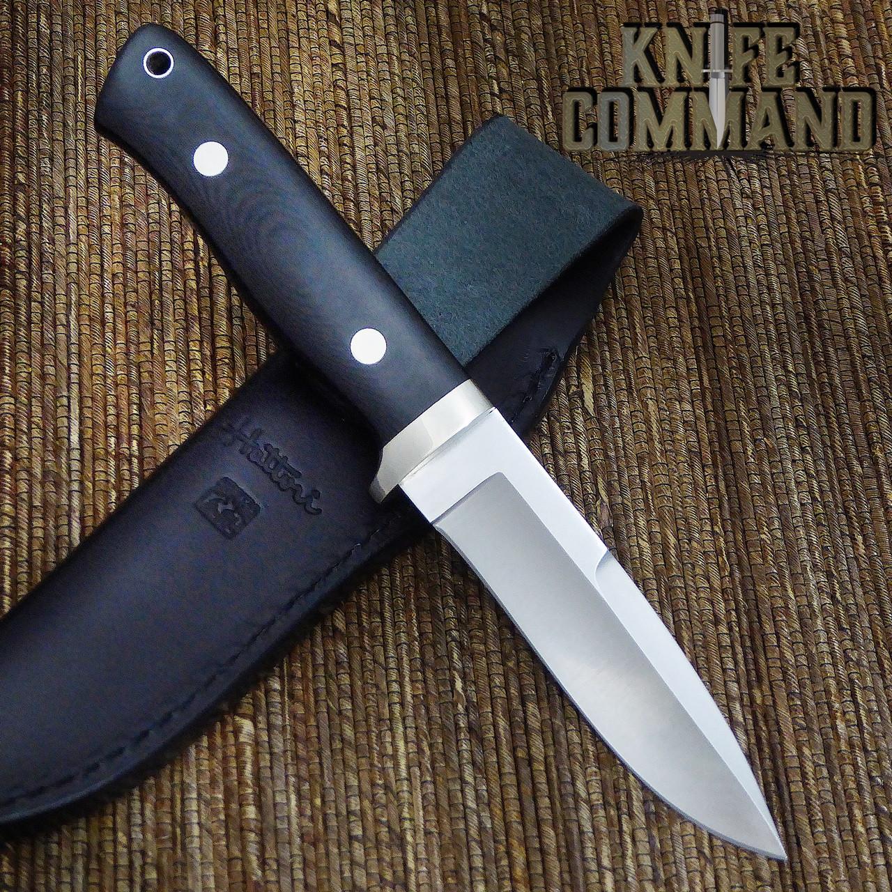 Hattori Knives Dream Hunter Ht-05 White Spacer Hunting Knife.  Nickel Silver hardware.