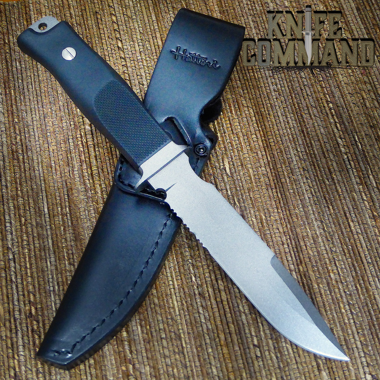 Hattori Knives Model S-51 Sea Commander Combat Military and Dive Knife.  High quality leather sheath.