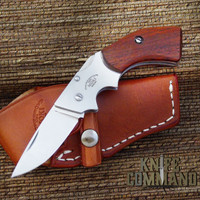 Moki TS-500B Gunblade Red Sandalwood Lockback Folding Knife and Sheath.   Perfect for a day at the range.