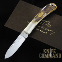 Moki 110th Anniversary Limited Edition Stag Lockback Folding Knife.  Only 110 made.
