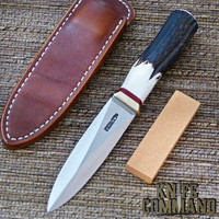Randall Made Knives Model 24 Guardian Stag Boot Knife Brass Hilt Red Spacers