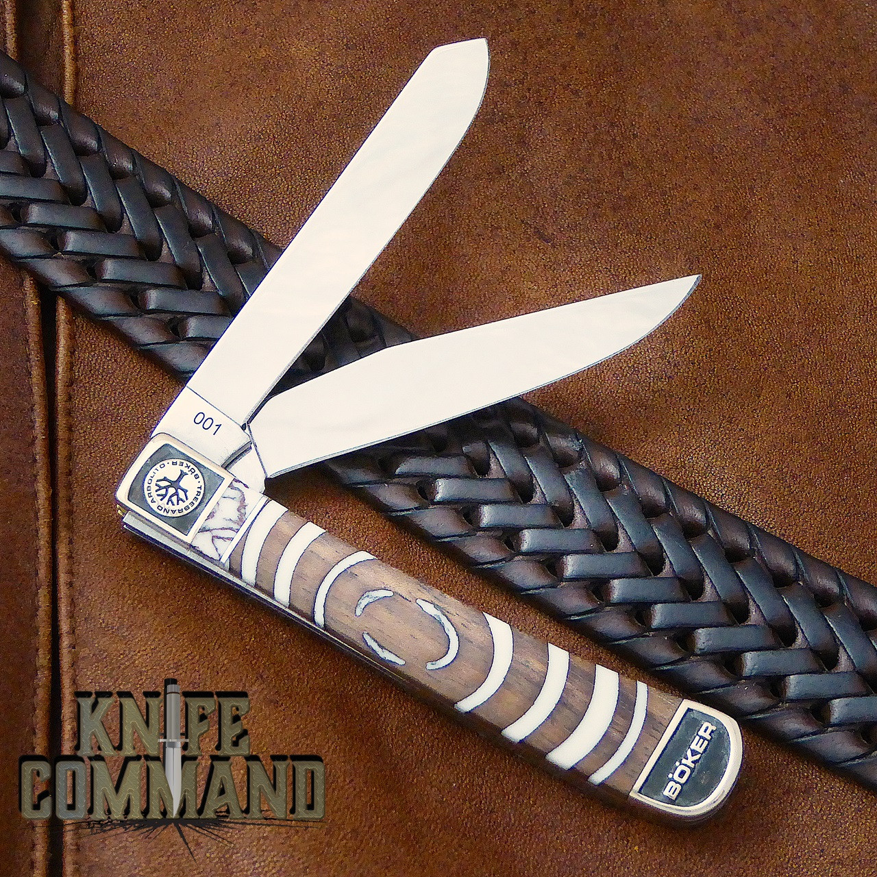 Boker Solingen One of a Kind Trapper Mammoth Walnut Custom Serial Number 001.  Hand inlaid on both sides.