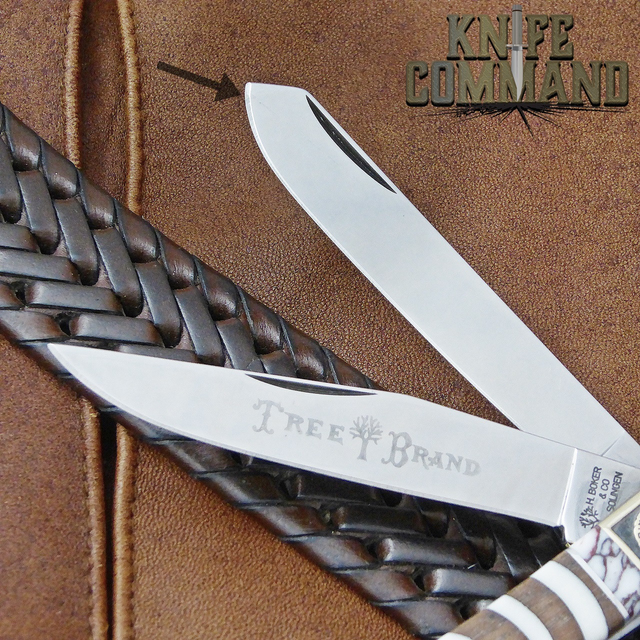 Boker Solingen One of a Kind Trapper Mammoth Walnut Custom Serial Number 001.  Fine scratch from factory.