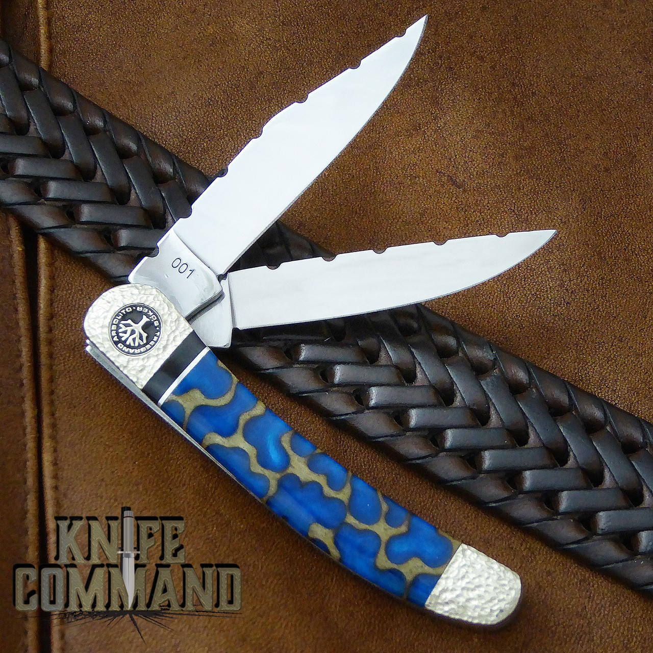 Boker Solingen One of a Kind Copperhead Panama Blue Custom Serial Number 001.  Finished on both sides.