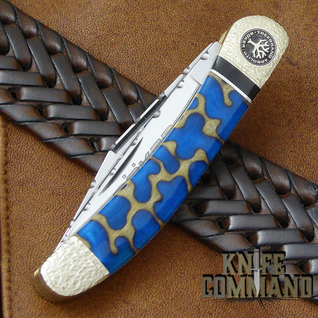 Boker Solingen One of a Kind Copperhead Panama Blue Custom Serial Number 001.  Intricate pattern in cherry wood.