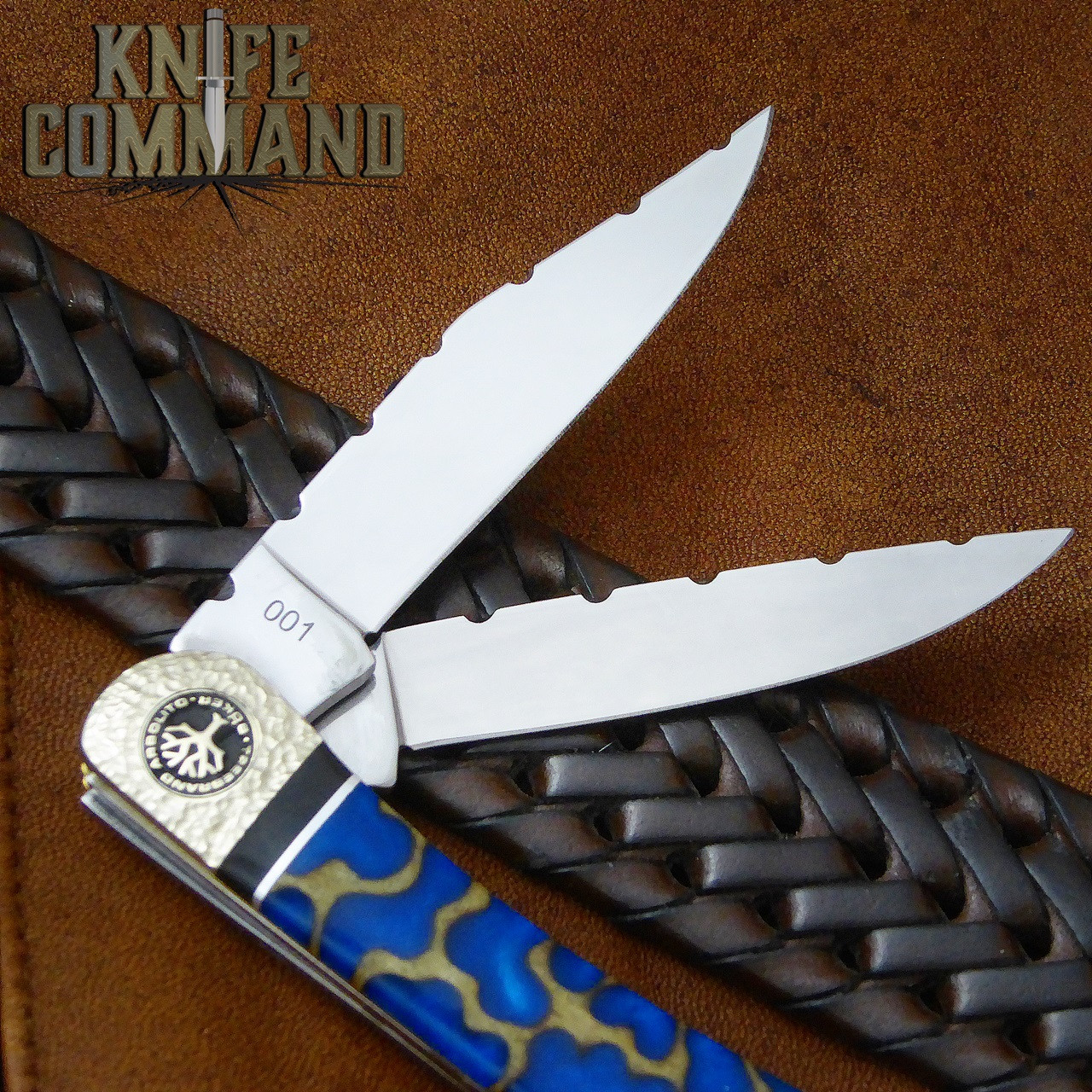 Boker Solingen One of a Kind Copperhead Panama Blue Custom Serial Number 001.  Serial numbered.