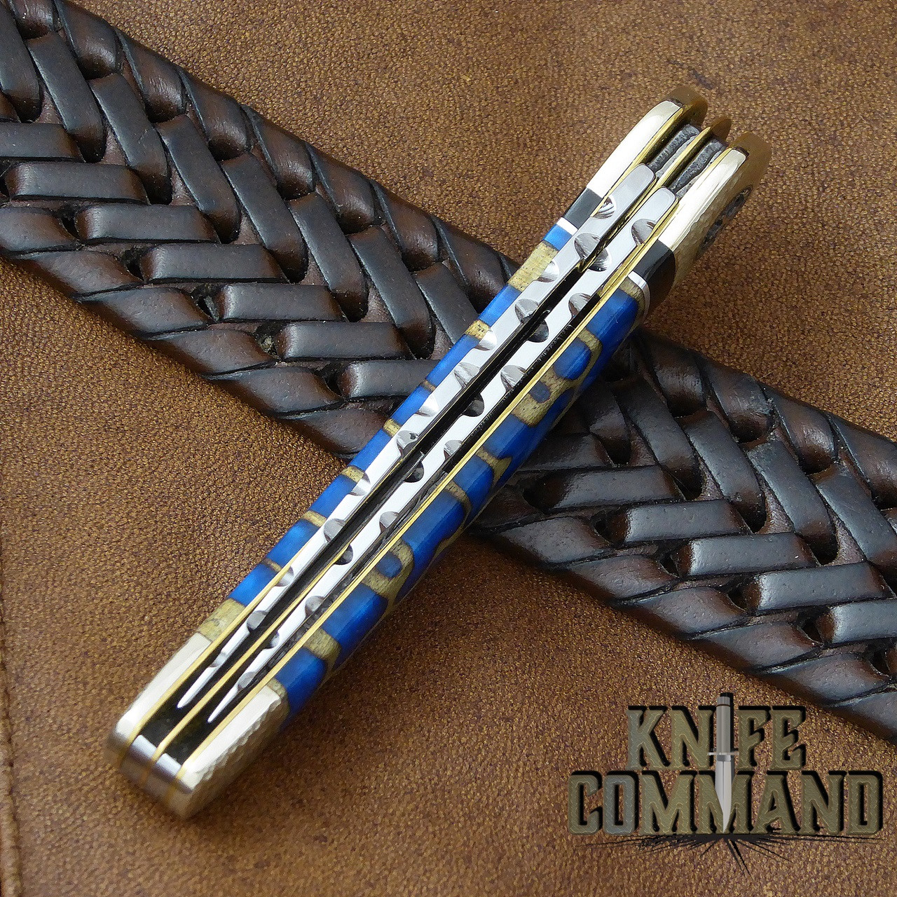 Boker Solingen One of a Kind Copperhead Panama Blue Custom Serial Number 001.  Hand filed spines.