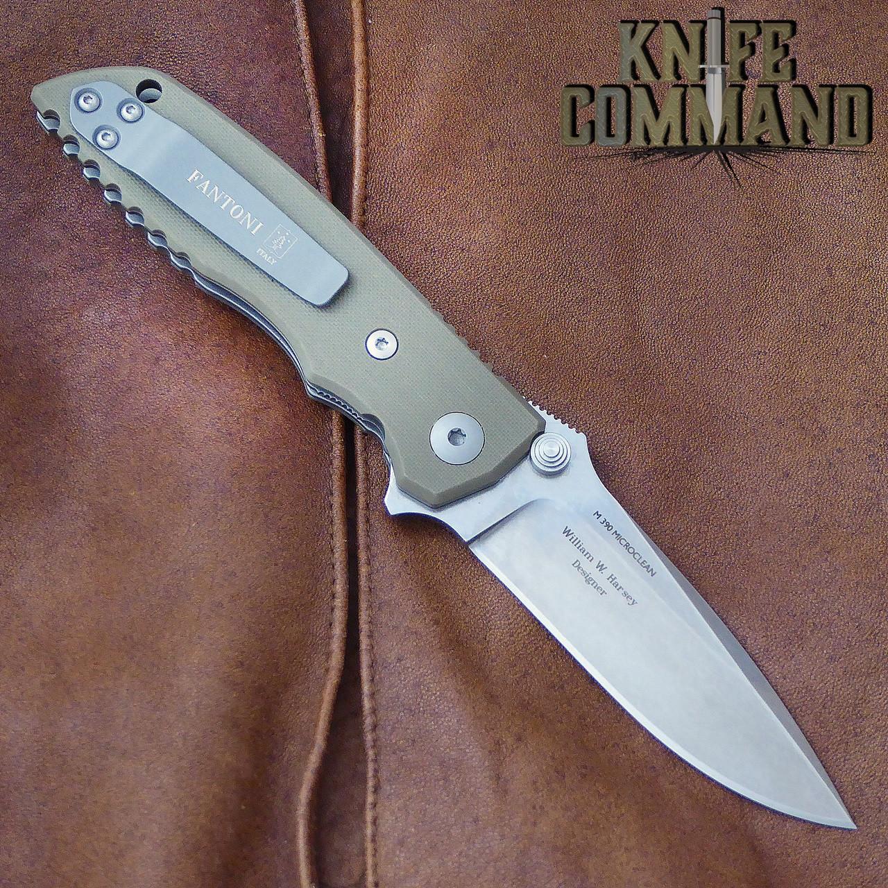 Fantoni HB 03 M390 William Harsey Combat Folder Tactical Knife OD Green.  Titanium liners.