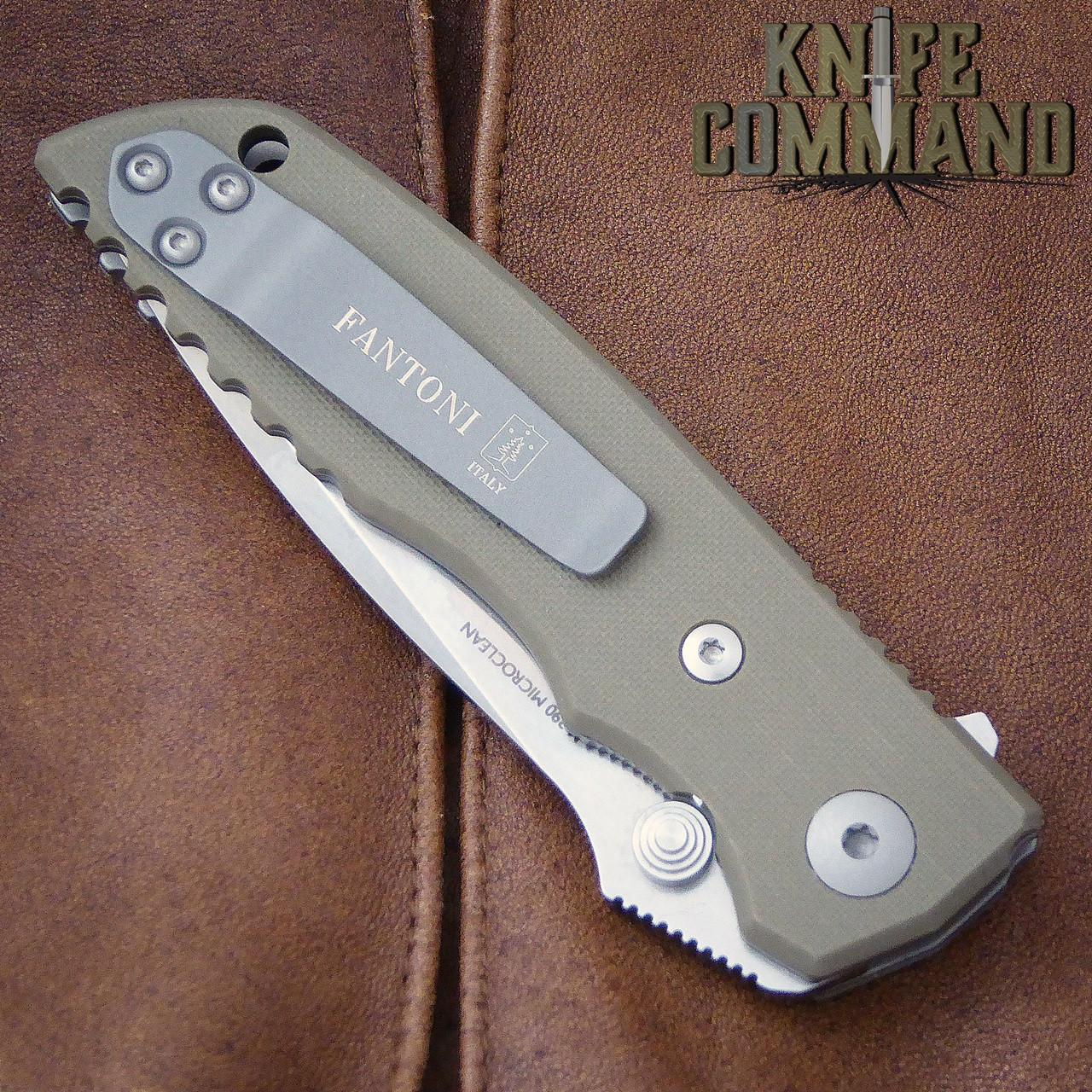 Fantoni HB 03 M390 William Harsey Combat Folder Tactical Knife OD Green.  Reversible pocket clip.