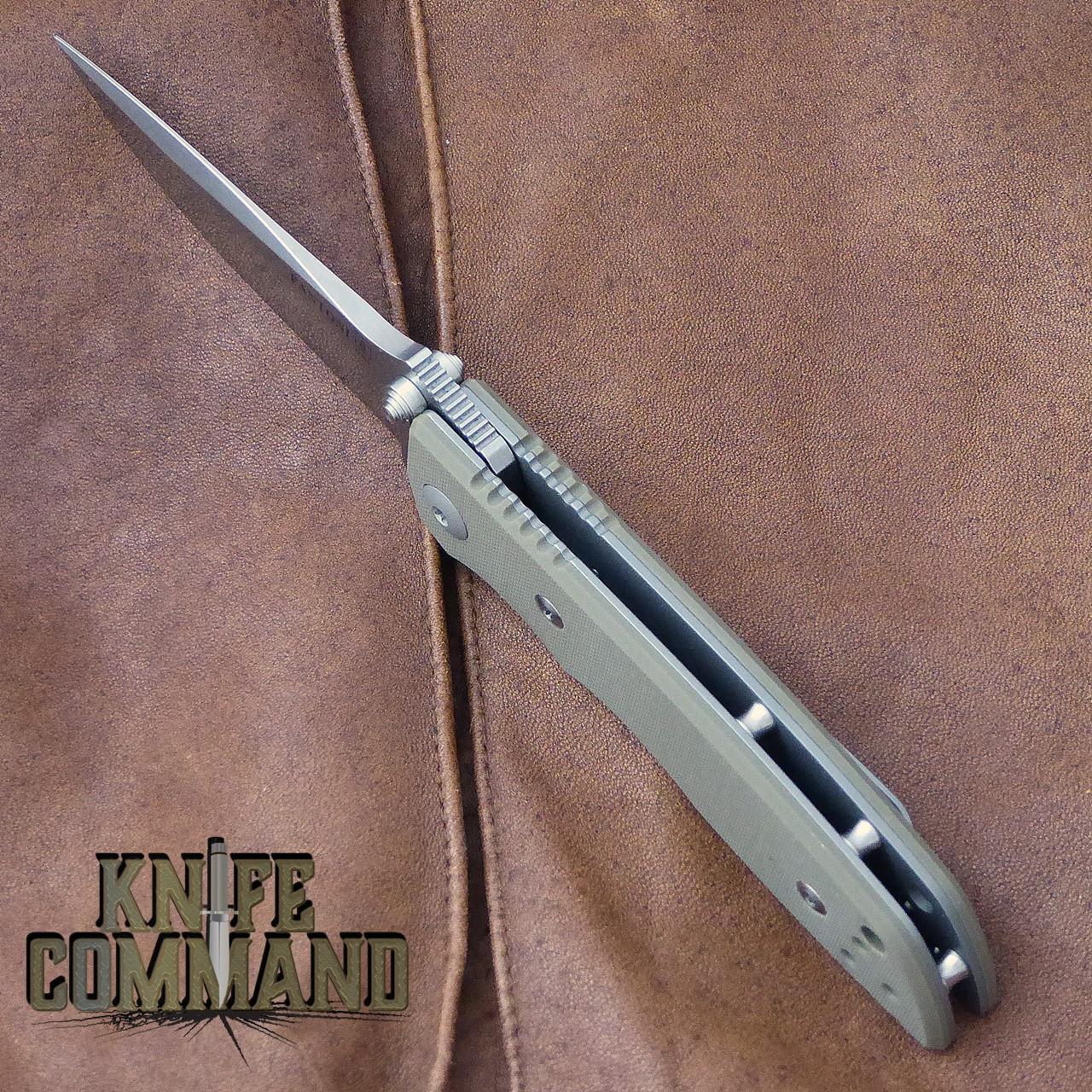 Fantoni HB 03 M390 William Harsey Combat Folder Tactical Knife OD Green.  Open back design.