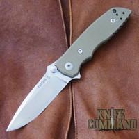 Fantoni HB 03 M390 William Harsey Combat Folder Tactical Knife OD Green.  Bohler M390 Microclean stainless steel blade.