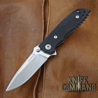Fantoni HB 03 M390 William Harsey Combat Folder Tactical Knife Black.  Bohler M390 Microclean stainless steel blade.