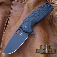 Fox Knives Vox Core FX-604B Folding Knife Black Handle Black Blade.  N690Co stainless steel blade.