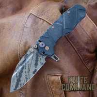 Wander Tactical Custom Mini Mistral TI Extreme Duty Gentleman's Folding Knife Black Black Blood.  Custom Black / Black Blood version.