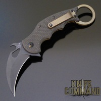 Fox Knives 599TiC Folding Karambit Knife Black Elmax, Carbon Fiber & Titanium