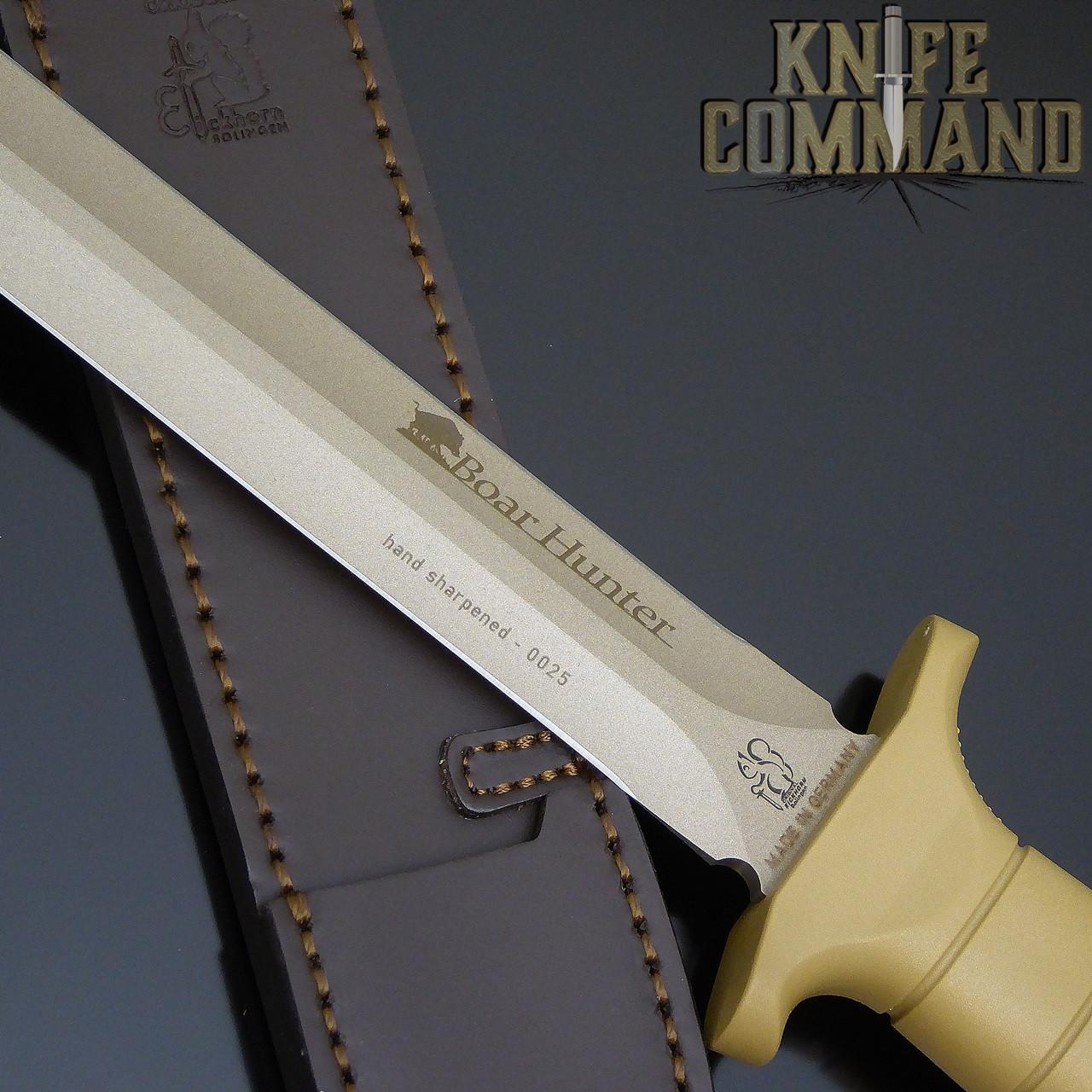 US Tan coated, hand sharpened blade.
