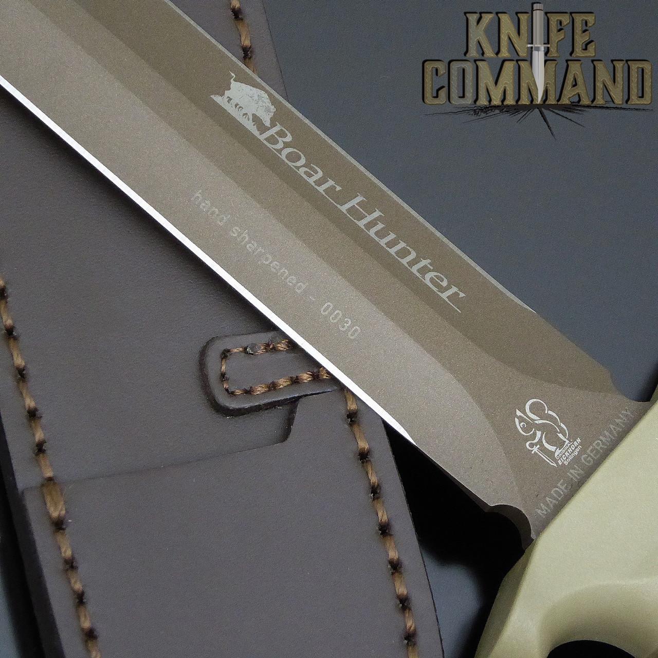 Coated, hand sharpened blade.