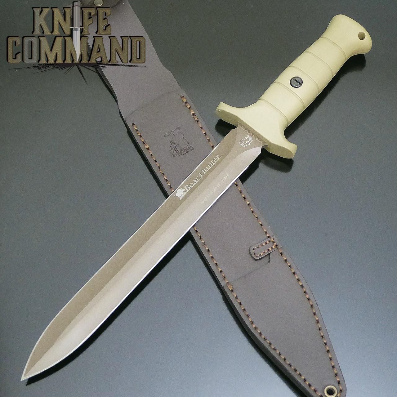 "10.2"" blade, leather sheath."