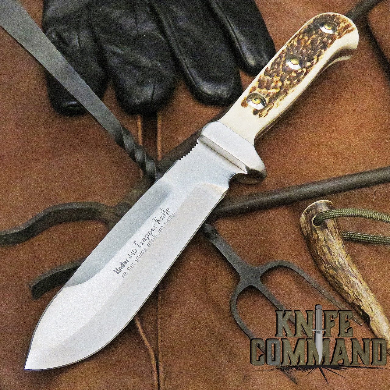 """Linder Solingen Trapper Stag Hunting Knife 6"""" 440 178415"""