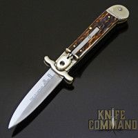 Hubertus Solingen Guardian Stag Springer Automatic Knife with Swing Guard