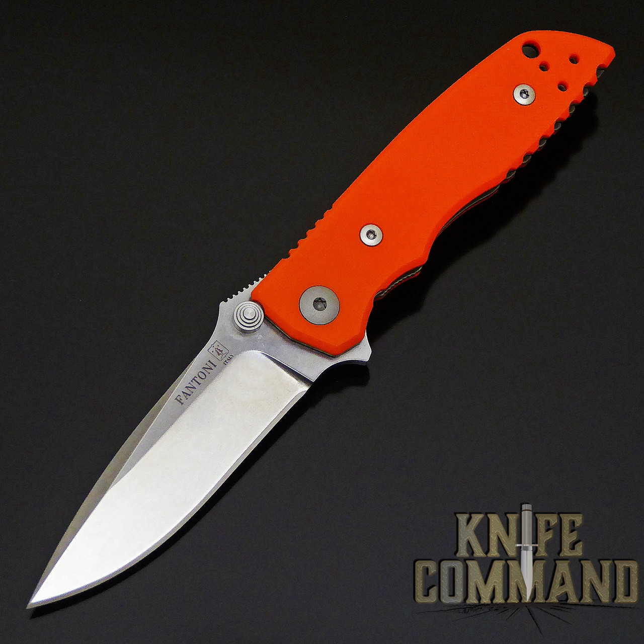 Fantoni HB 03 M390 William Harsey Combat Folder Tactical Knife Blaze Orange.  Bohler M390 Microclean stainless steel blade.