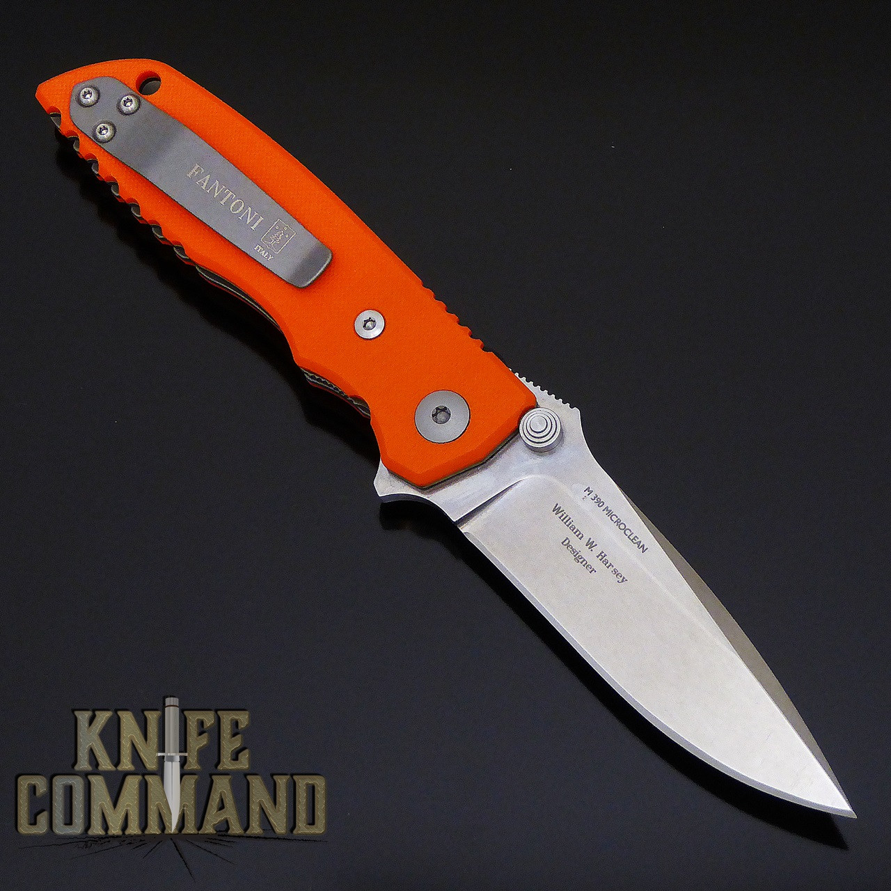 Fantoni HB 03 M390 William Harsey Combat Folder Tactical Knife Blaze Orange.  Titanium liners.