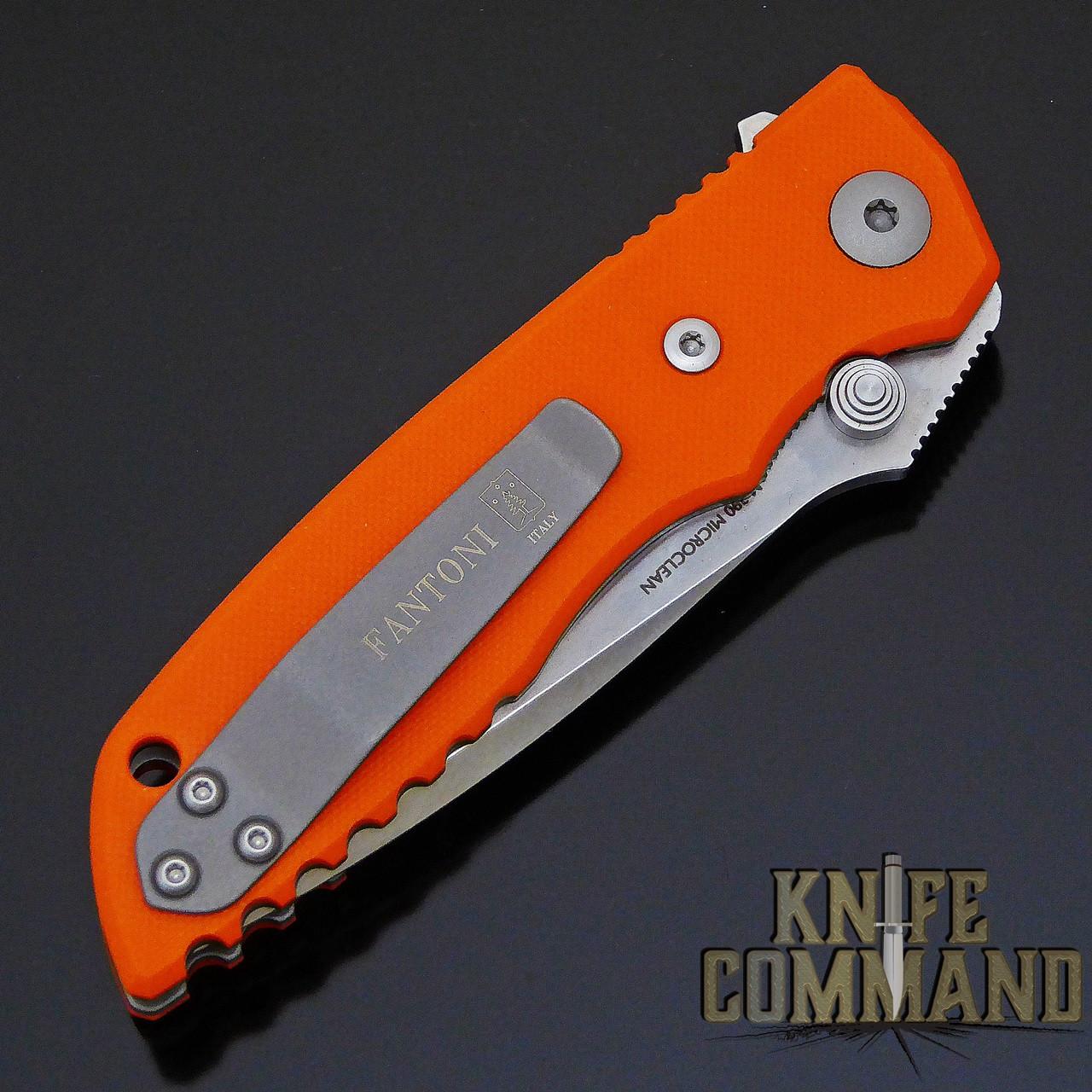 Fantoni HB 03 M390 William Harsey Combat Folder Tactical Knife Blaze Orange.  Reversible pocket clip.