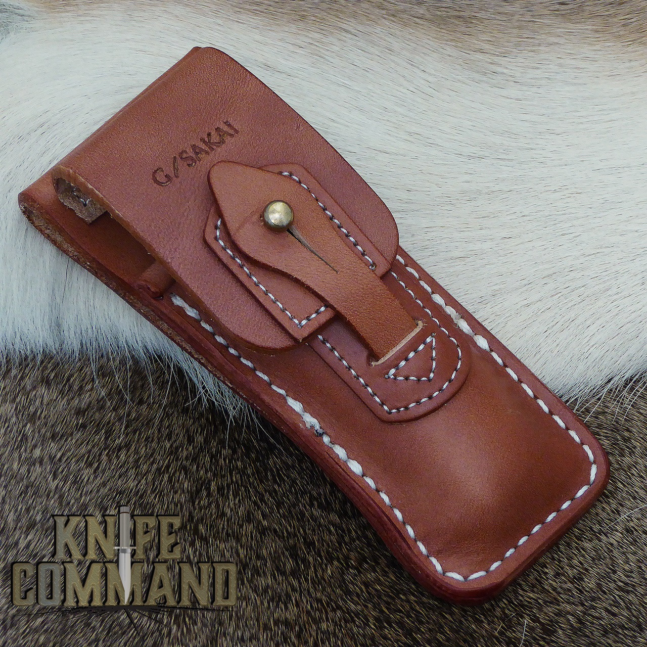 Custom leather belt sheath.