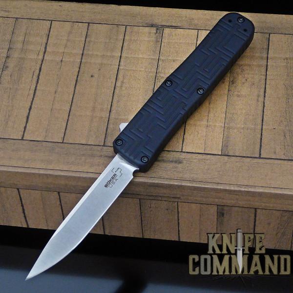 Boker Plus USA OTF Automatic Knife Black / Stonewash 06EX260 Hogue Knives