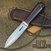 Randall Made Knives Model 24 Guardian Maroon Micarta Boot Knife with Red Spacers and Wrist Thong
