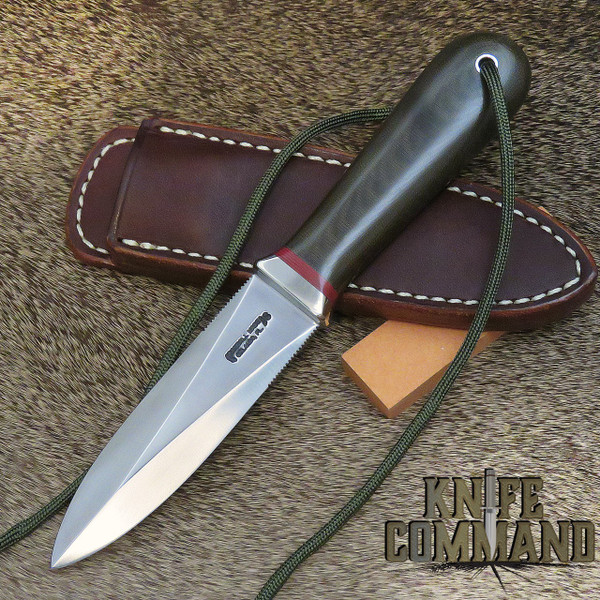 Randall Made Knives Model 24 Guardian Green Micarta Boot Knife with Red Spacers and Wrist Thong