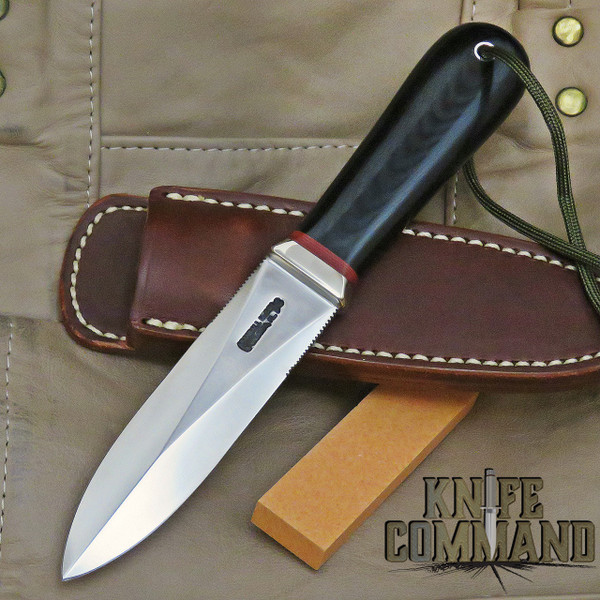 Randall Made Knives Model 24 Guardian Black Micarta Boot Knife with Red Spacers and Wrist Thong