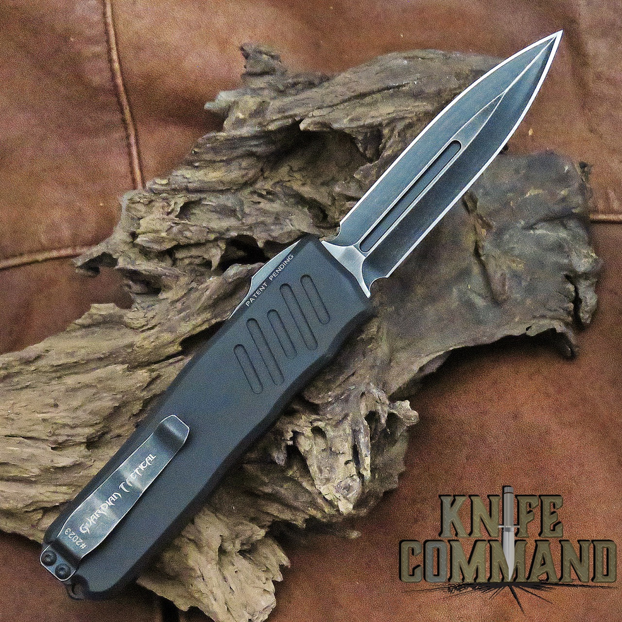 Guardian Tactical Recon-035 Double Edge Elmax OTF Automatic Knife Black Stonewash 93631