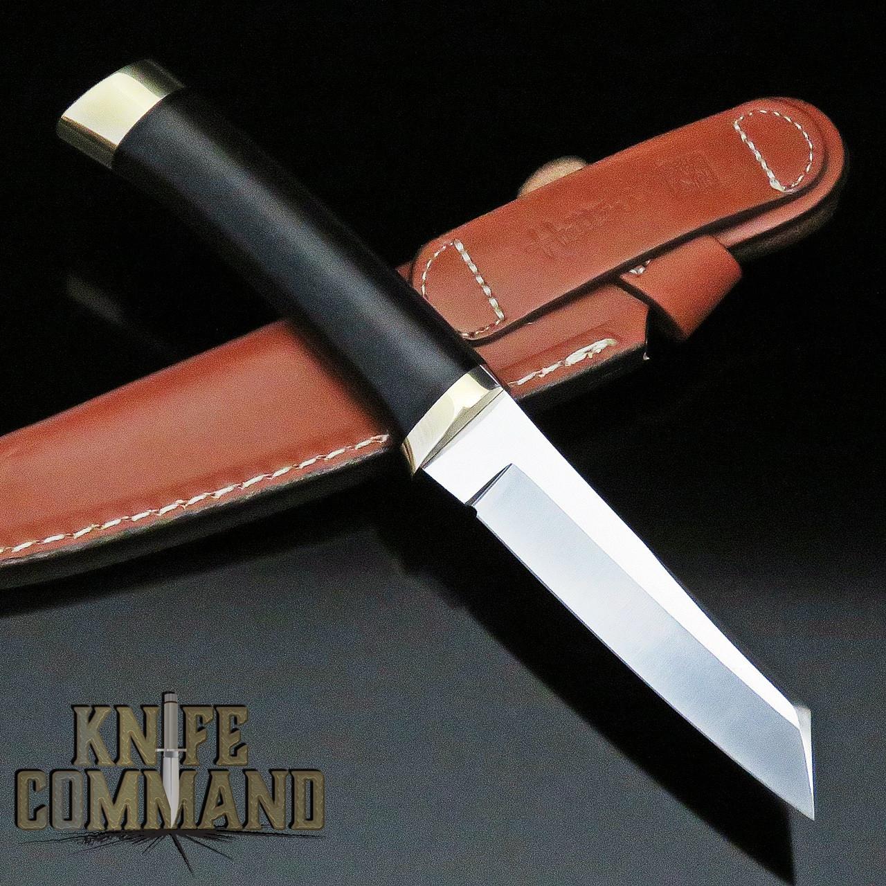 Hattori Knives Model 3717 Tanto Bird & Trout Ebony Hunting Knife