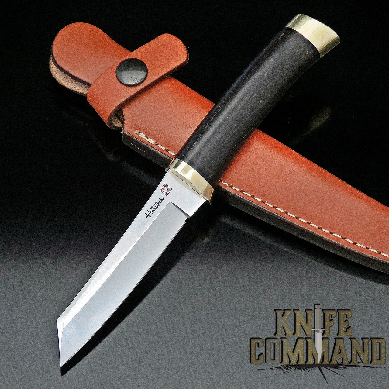 Hattori Knives Model 3717 Tanto Bird & Trout Ebony Hunting Knife