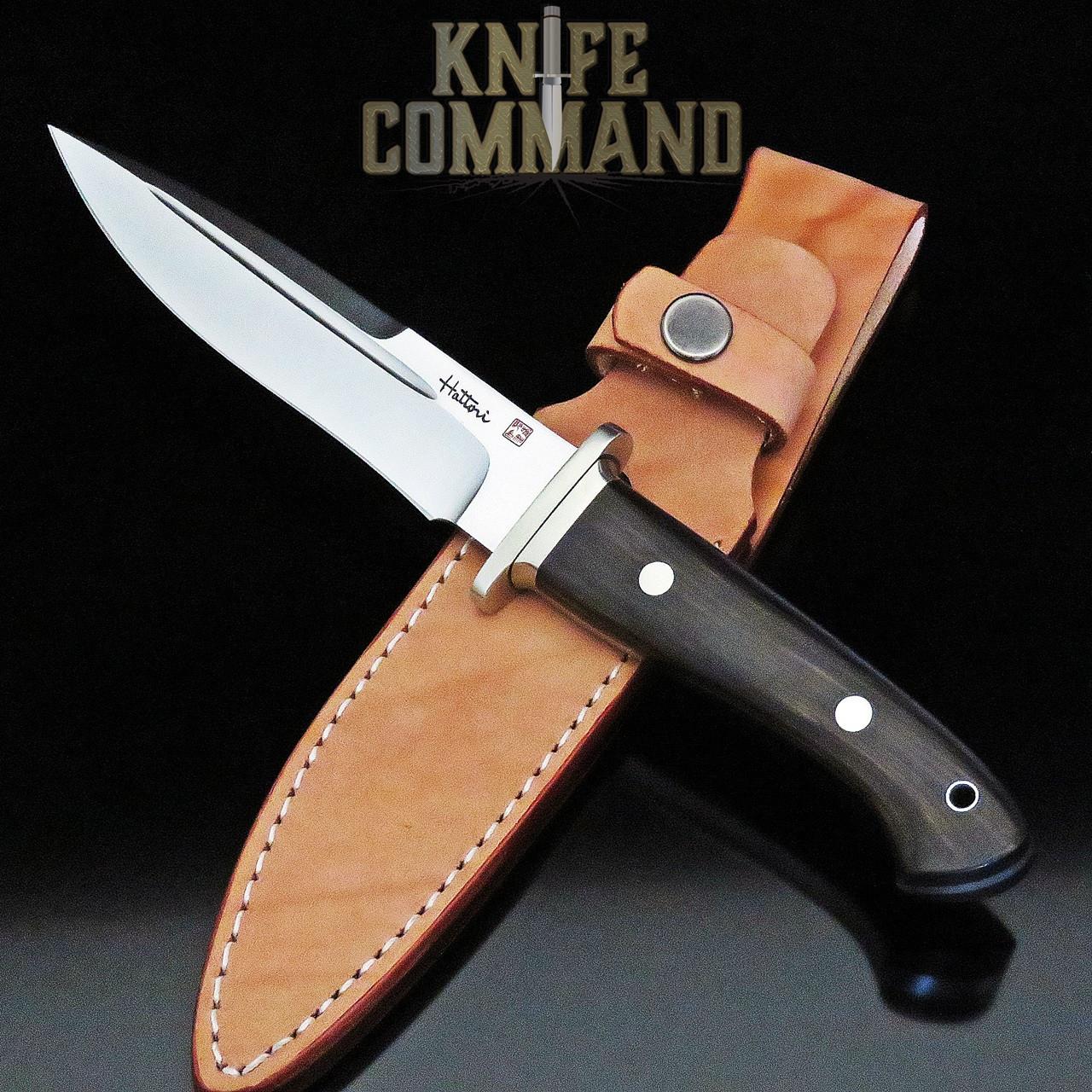 Hattori Knives FT-100E Fighter Knife Ebony Wood