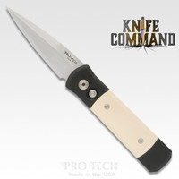Pro-Tech Knives Godson Automatic Knife 751 Tuxedo Folder Black and Ivory Micarta