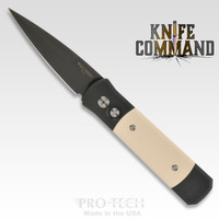 Pro-Tech Knives Godson Automatic Knife 752 Tuxedo Folder Black and Ivory Micarta DLC Blade
