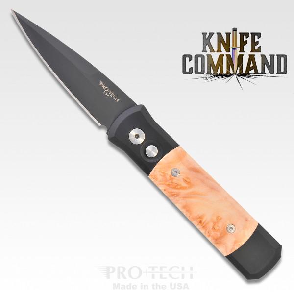 Pro-Tech Knives Godson Automatic Knife 707 Folder Black and Maple Burl DLC Blade