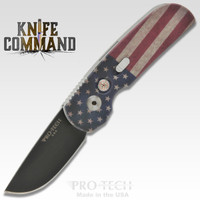 "Pro-Tech Knives Calmigo Automatic Knife 2241 Folder 2"" Black DLC Blade Vintage American Flag Custom"
