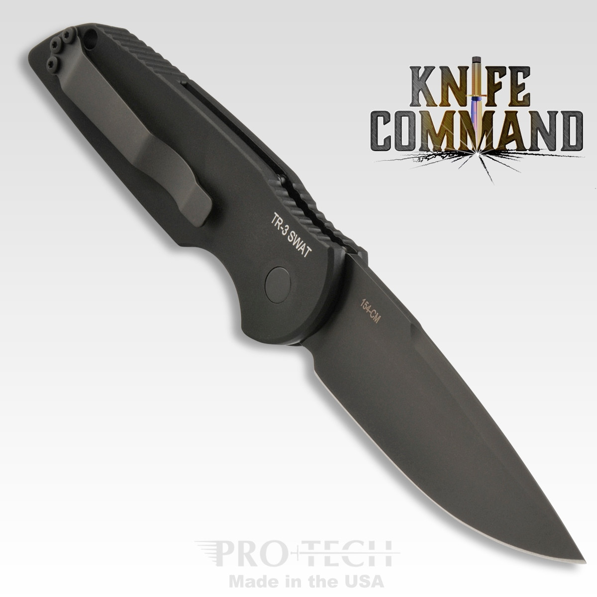 "Pro-Tech Knives Tactical Response TR-3 SWAT Automatic Knife Police Law Enforcement Folder 3.5"" Black DLC Blade"