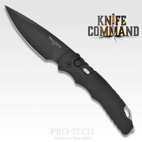 "Pro-Tech Knives Tactical Response TR-4.3 Automatic Knife Police Law Enforcement Folder 4"" Black DLC Blade with sheath."
