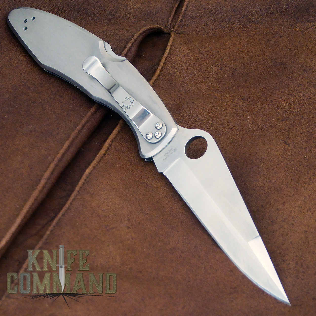 Spyderco Police Santa Fe Stoneworks Blue Line Special Knife.  Stainless steel knife with pocket clip.