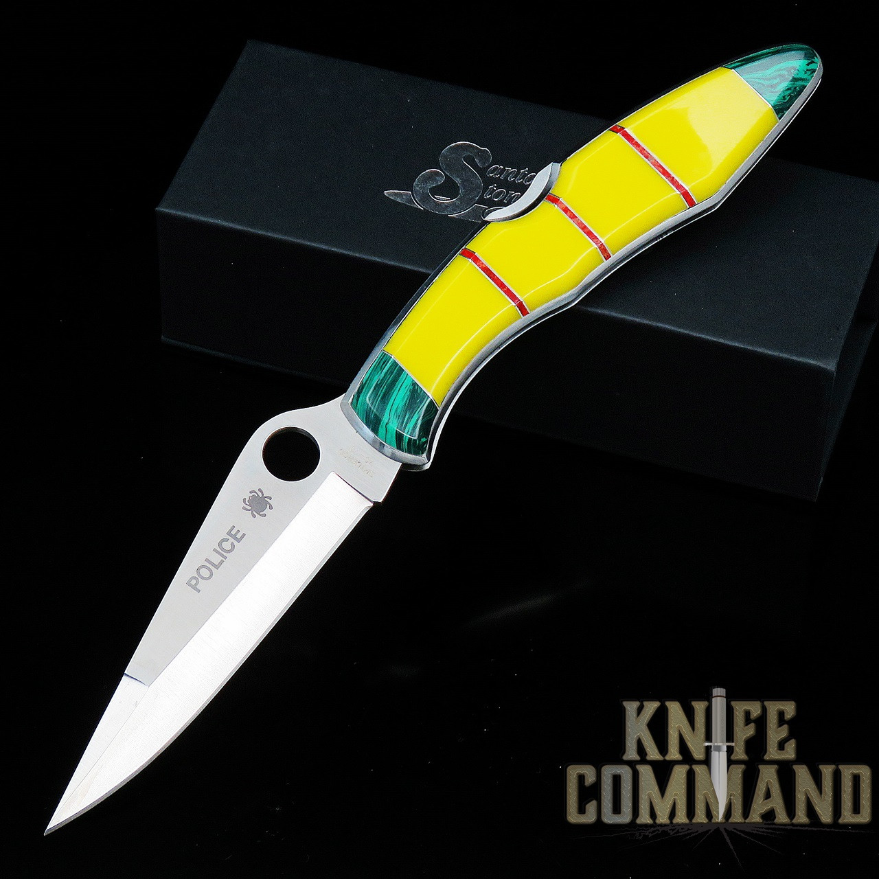 Spyderco Police Santa Fe Stoneworks Vietnam Service Ribbon Knife.  A Knife Command Exclusive.