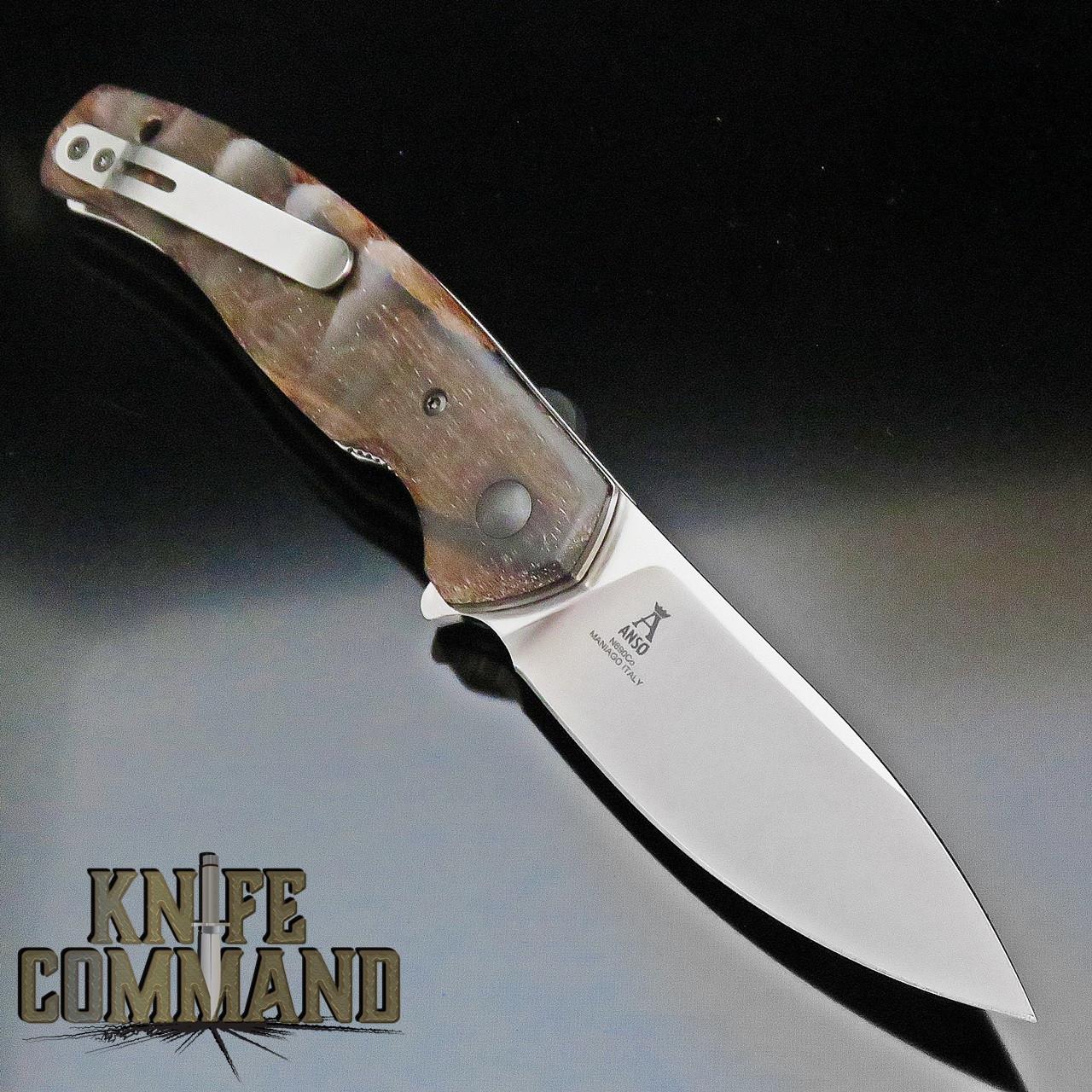 Fox Knives Jens Anso Ziggy Ziricote Wood Flipper Pocket Knife FX-308 ZW