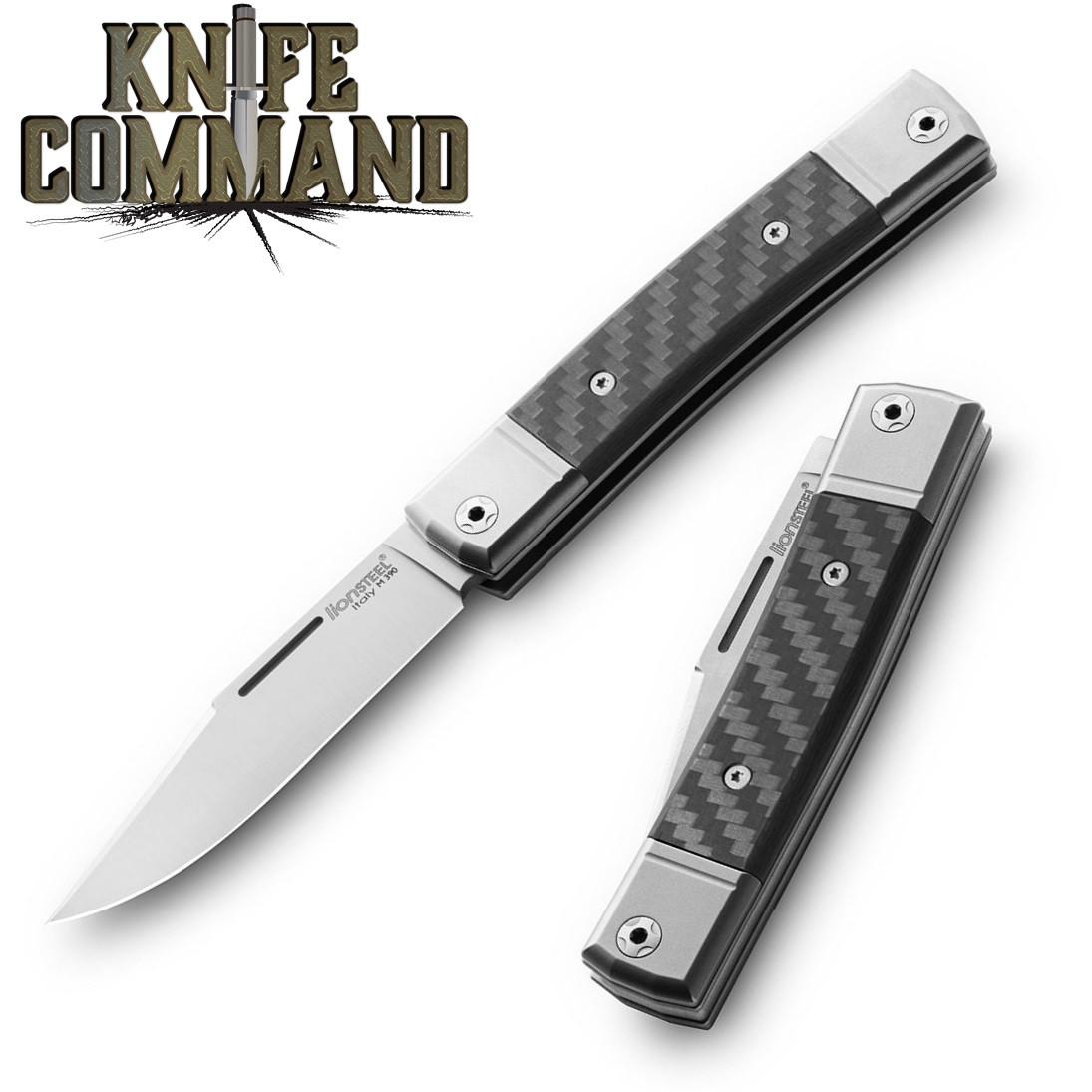 LionSteel Knives Best Man Traditional Carbon Fiber Single-blade Slip-joint Folding knife BM1-CF