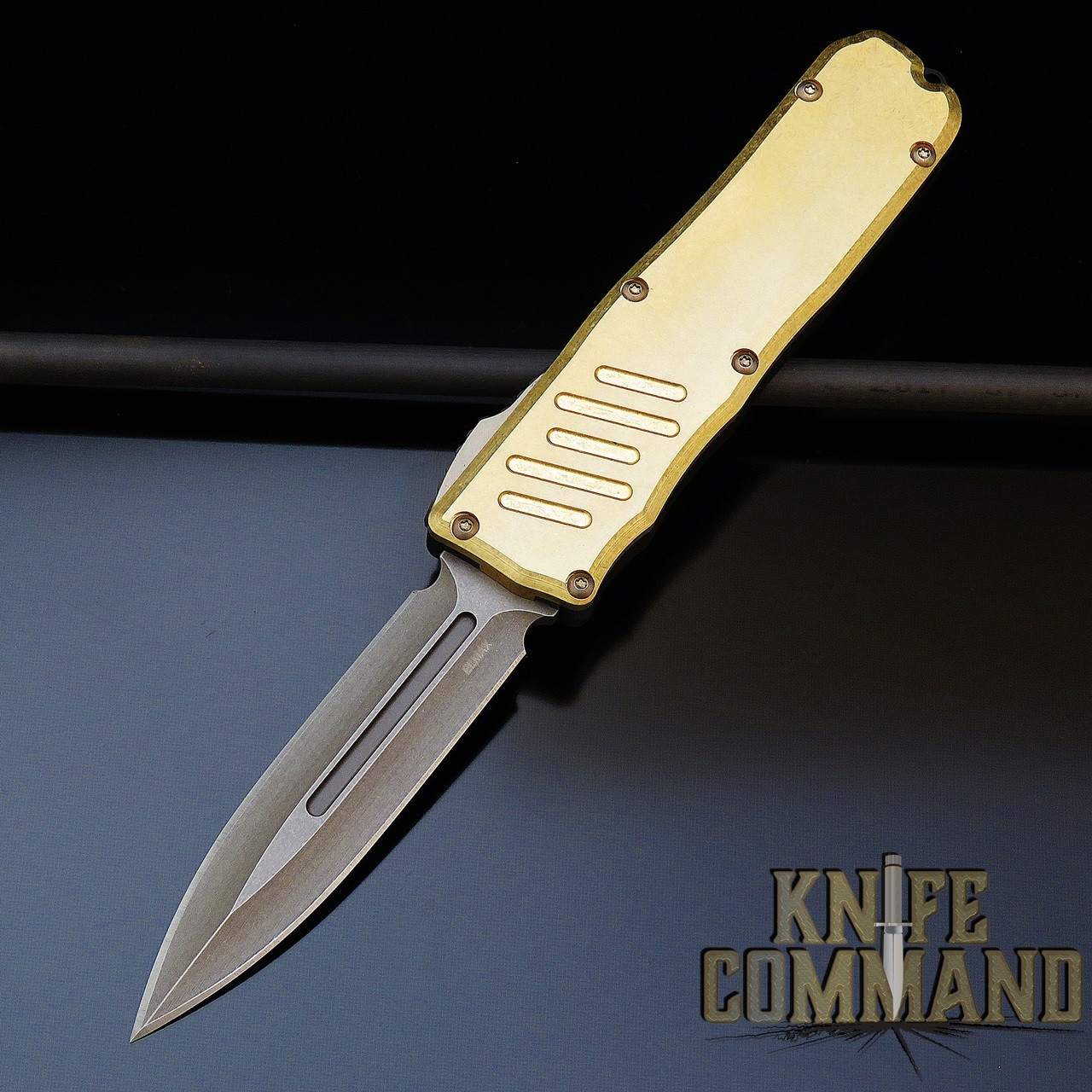 Guardian Tactical Limited Edition Recon 035 Double Edge Bronzed Elmax Brass Top Otf Automatic Knife 96931 Knifecommand